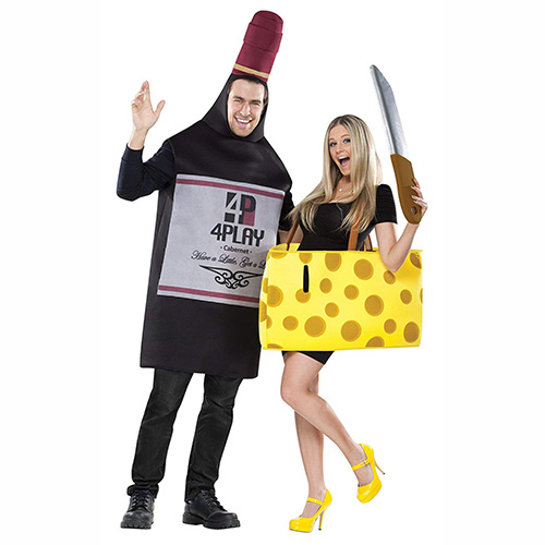 Disfraces en pareja vino y queso para Carnaval