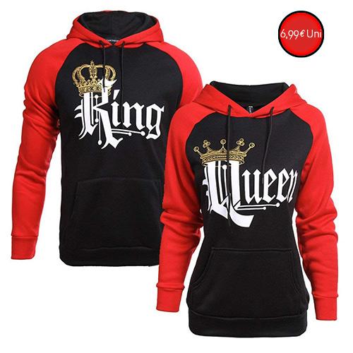 Sudaderas con capucha King Queen Encapuchado Jersey Pull-ove