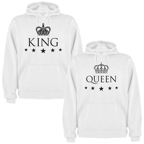 Sudaderas Blancas para Parejas, King y Queen