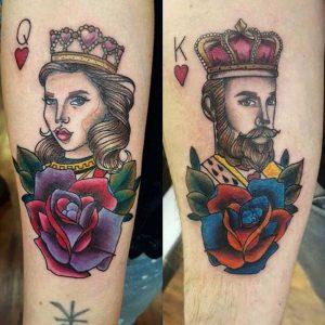 tatuajes para novios Rey y Reina de corazones
